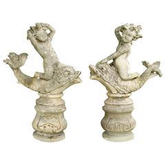 19th Century Pair of Italian Cherub Statues in Limestone
