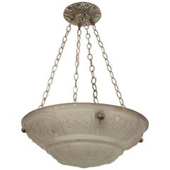 1920s French Art Deco Frosted Glass Pendant Chandelier