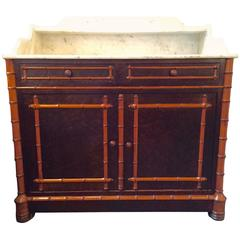 Very Handsome English Faux Bamboo and Marble Bar Server