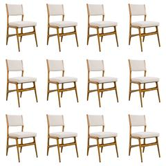 Set of 12 Gio Ponti Ash Chairs, Model 687, Italy, 1953