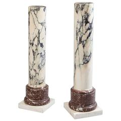 Pair of 19th Century Well Figured Marble Columns
