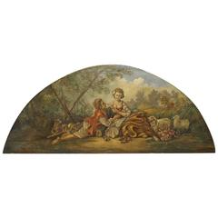 19th Century Overdoor Painting from France La Musette