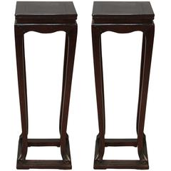 Pair of all Chinese Hardwood Pedestals with Drawers