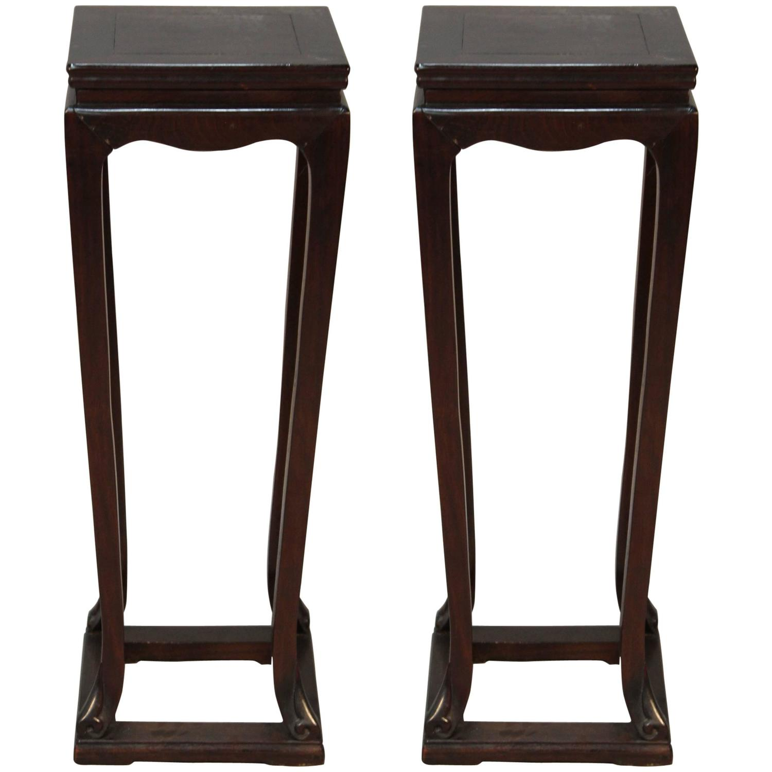 Pair of all chinese hardwood pedestals with drawers at 1stdibs for Chinese furniture norwalk ct