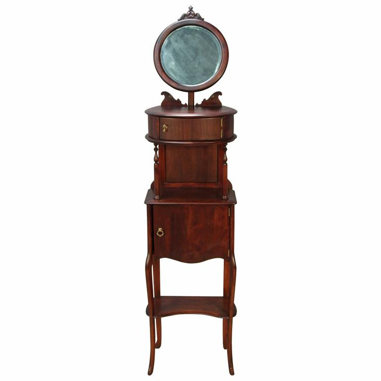 Victorian Mahogany Shaving Station with Movable Mirror 1