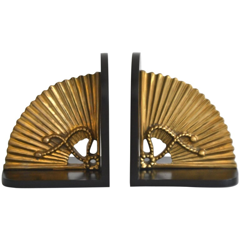 Pair of Hollywood Regency Brass Bookends