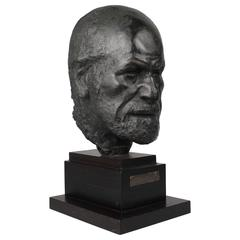 Large Bronze Sculpture or Bust of Psychoanalyst Sigmund Freud by Oscar Nemon