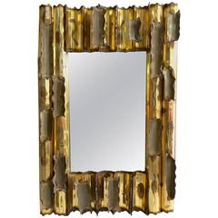 1979 Copper and Brass Brutalist Wall Mirror, Signed