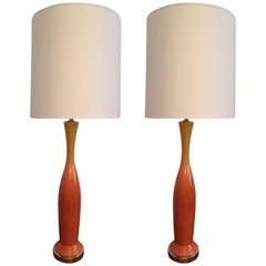 Tall Pair of 1960s Italian Art Pottery Table Lamps