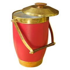 Italian Brass and Leather Ice Bucket