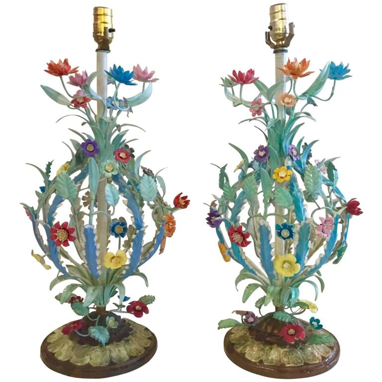 1960s Pair of Florentine Tall Metal Table Lamps, Signed Made in Italy For Sale
