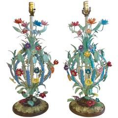 1950s Glamorous Pair of Italian Metal Table Lamps, Signed