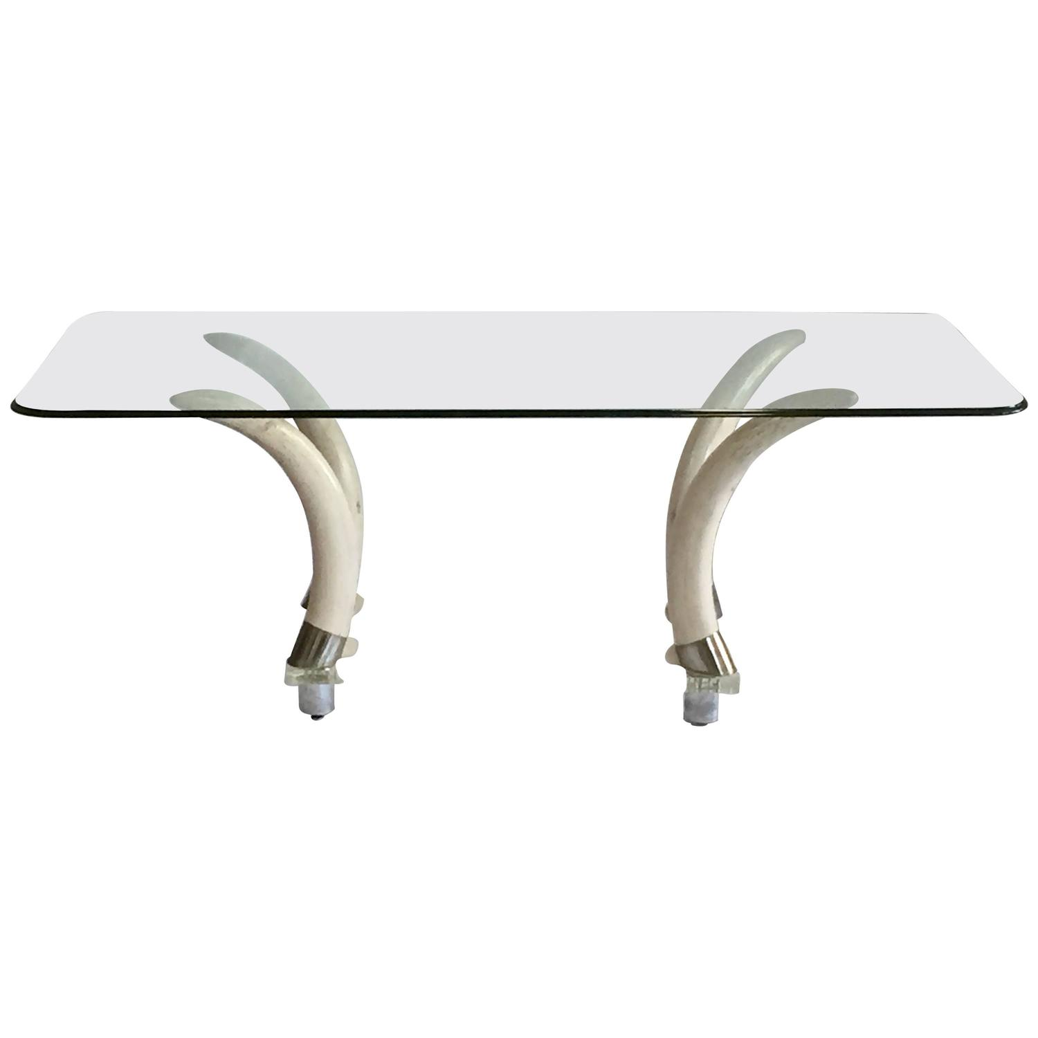 1970s Faux Elephant Tusk and Lucite Base Glass Top Table at 1stdibs