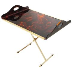 Christian Dior 1970s Tray Table Faux Tortoiseshell Lucite and Brass
