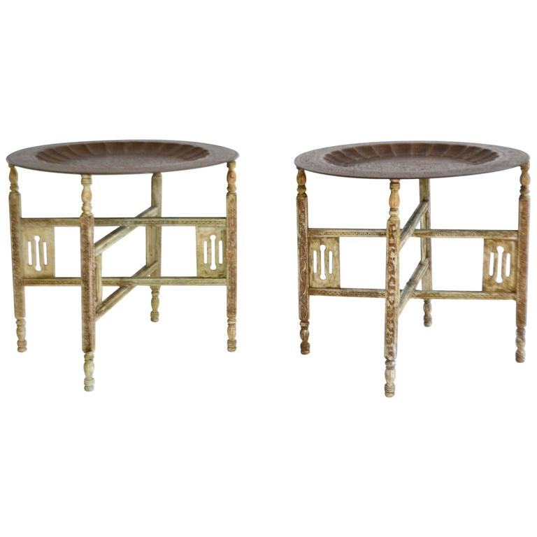 Pair of Anglo-Indian Brass Tray Tables For Sale