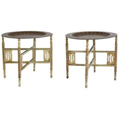 Pair of Anglo-Indian Brass Tray Tables