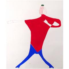 Vibrant Abstract European Fashion Illustration, 1977