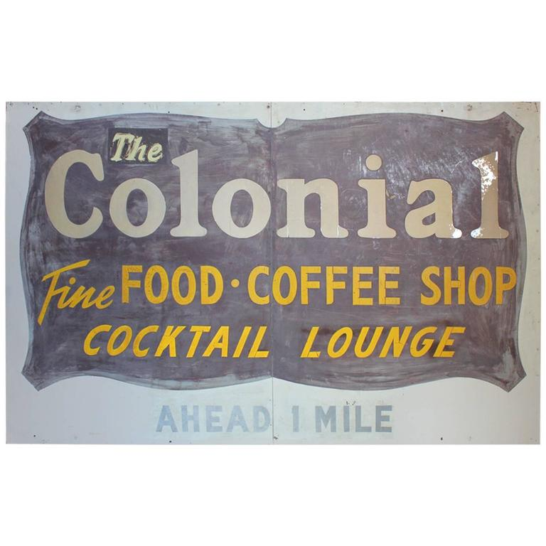 Large 1950s The Colonial Coffee Shop Sign