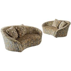 Pair of Italian Settees in Gold Floral Fabric Upholstery