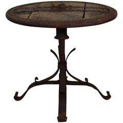 French Wrought Iron Banded and Wooden Circular Table, 19th Century or Earlier