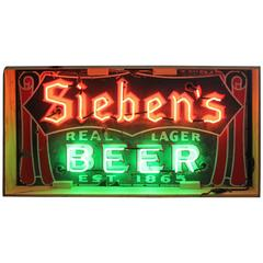 1930s Enamel and Neon Sieben's Beer Sign