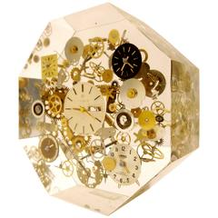 Rare Pop Art Lucite Sculpture Clock Parts and Ends Octagon Boxed