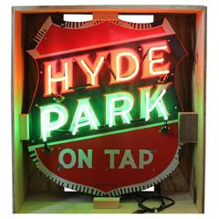 1930s Enamel and Neon Hyde Park Sign