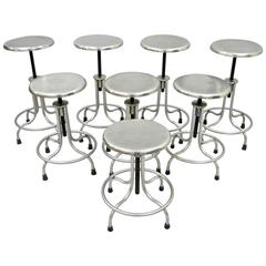 Set of Eight Stainless Steel American Industrial Modern Adjustable Stools