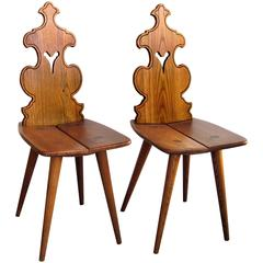 Charming and Rustic Pair of Tyrolean Waxed Oak Alpine Mountain Chairs