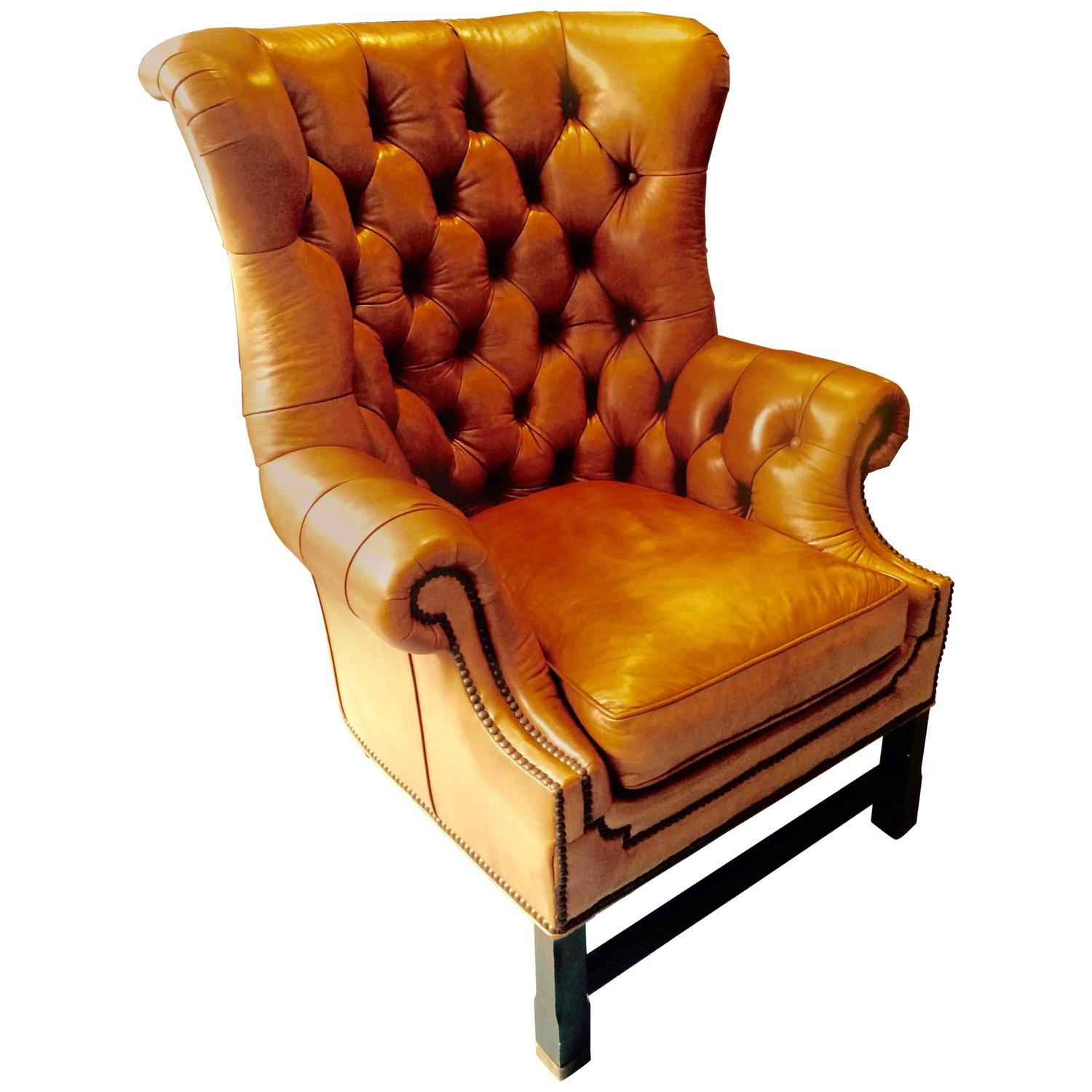 camel leather chair rich camel leather tufted wing chair for at 1stdibs 1960