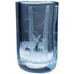 Stunning Strombergshyttan Two-Sided Dimensional Etched Glass Vase