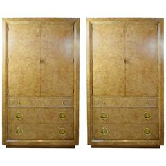 Pair of Mastercraft Burl Wood Storage Cabinets