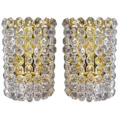 Pair of Austrian Brass and Crystal Wall Sconces