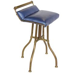 Antique Brass and Leather Swivel Stool