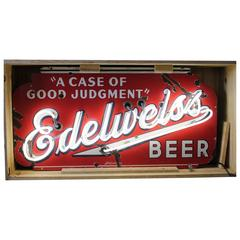 1930s Enamel and Neon Edelweiss Beer Sign