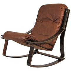 Rosewood and Leather Westnofa Norwegian Rocking Chair