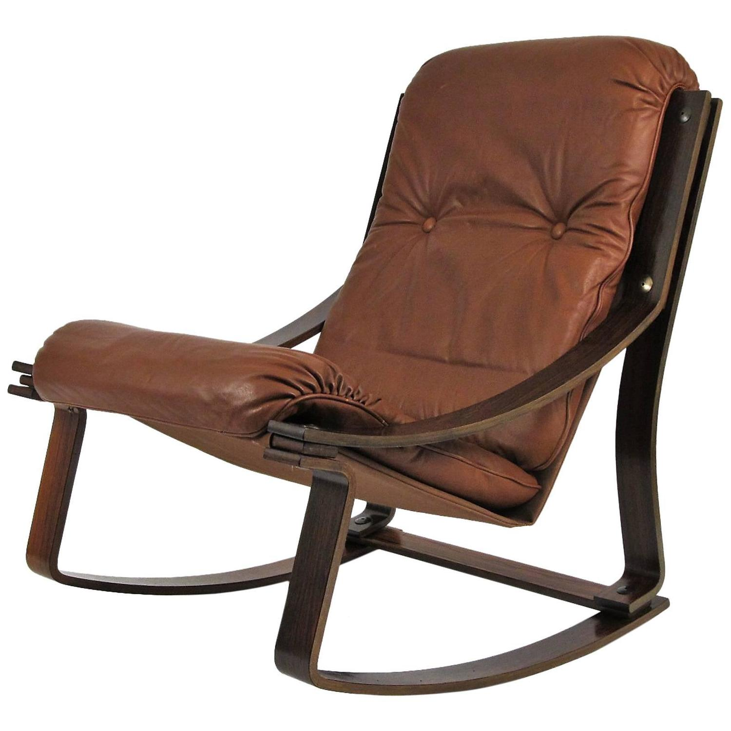 Rosewood and leather westnofa norwegian rocking chair at
