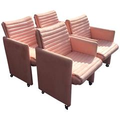 Milo Baughman Arm Chairs by Preview Vintage Set of Four Lounge Castors Pink