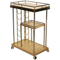Mid-Century Italian Brass and Chrome Bar Cart