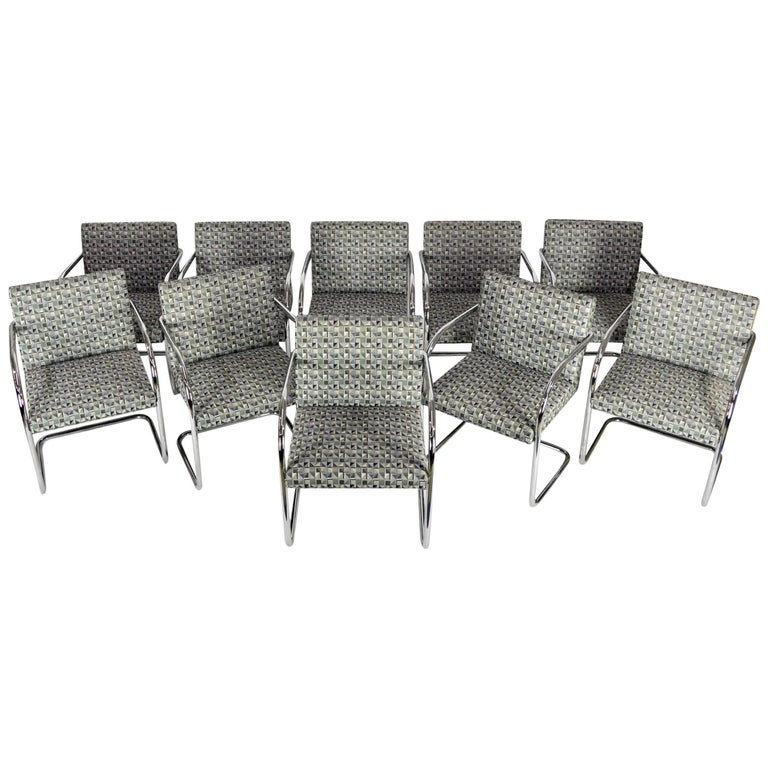 Set of Ten Tubular Brno Chairs by Knoll For Sale