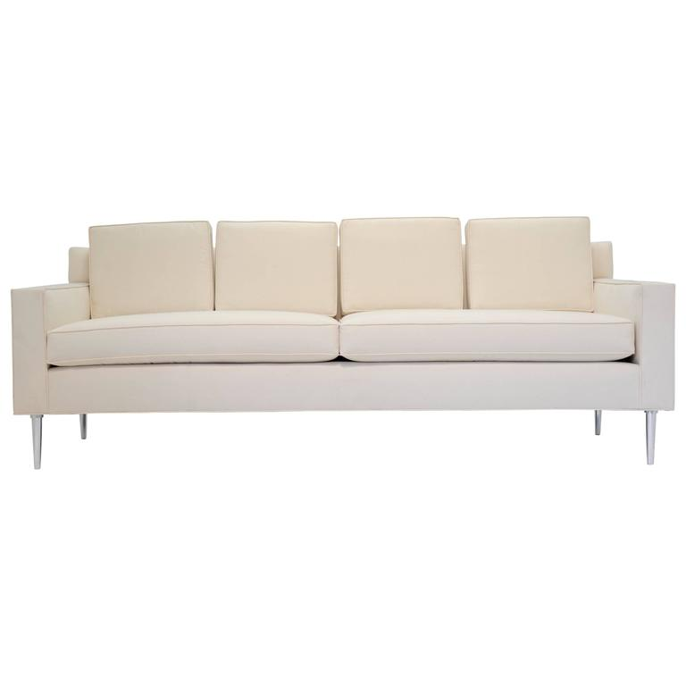 Edward Wormley Style Sofa with Aluminum Legs For Sale