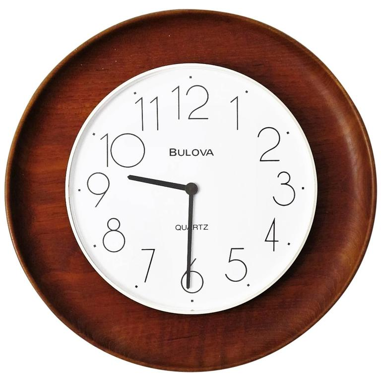 S Christian And Bulova Teak And Plastic Wall Clock At 1stdibs