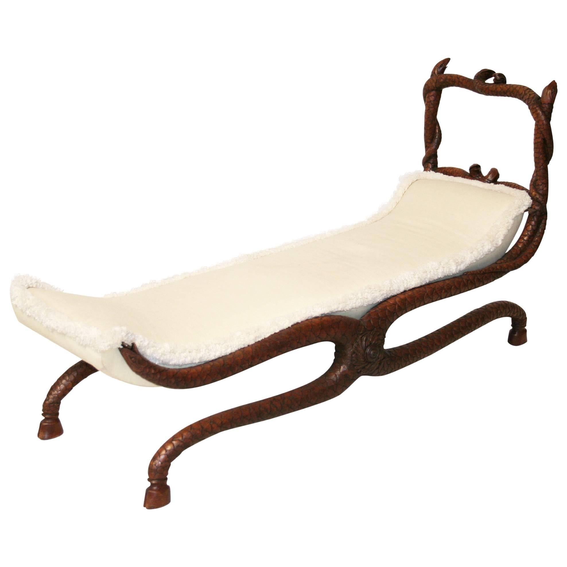 Fantastic 19th Century Serpent Carved Walnut Daybed/Bench