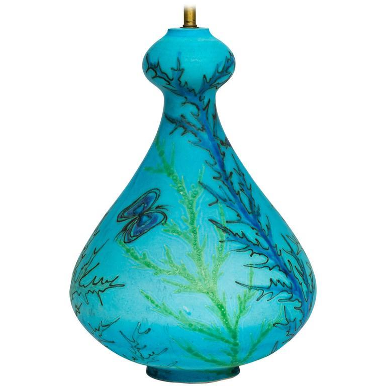 Large Raymor 1960s Italian Turquoise Ceramic Lamp
