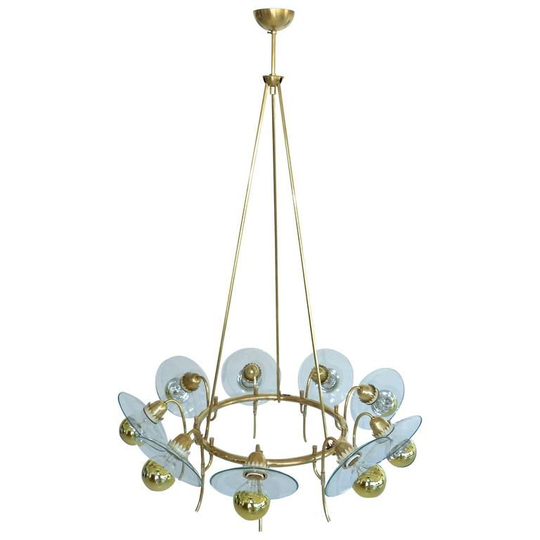 1940s Suspended Hoop Chandelier After Pietro Chiesa For