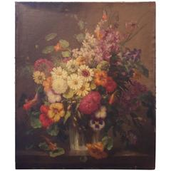 19th Century French Floral Still Life Oil Signed