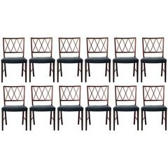 Twelve Exceptional Brazilian Rosewood Dining Chairs by Ole Wanscher