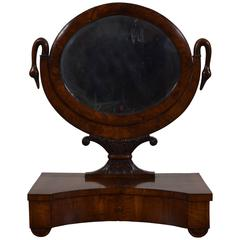 Italian Neoclassic Walnut Decorative One-Drawer Dressing Mirror