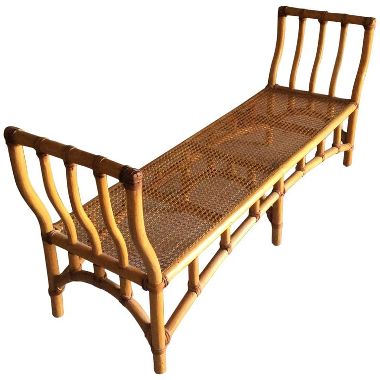 Bamboo Rattan End Of Bed Bench Chinoiserie Palm Beach Hollywood Regency At 1stdibs