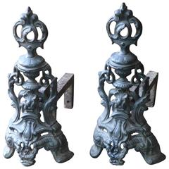 French Style Louis XV, Rococo Andirons, Firedogs